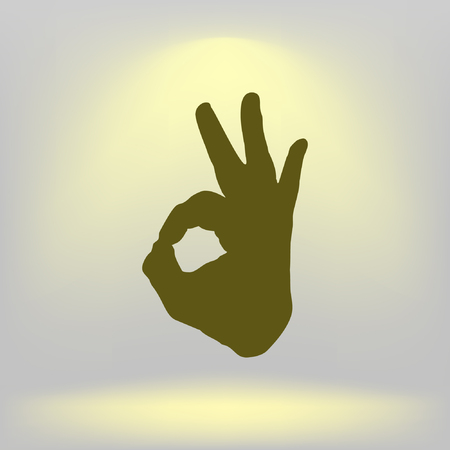 all ok: Human hand, showing OK sight, fingers showing symbol of a great state. OK icon