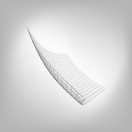 ワイヤー フレーム、多角形の風景。曲がったワイヤー フレームのポリゴンです。ベクトルの図。