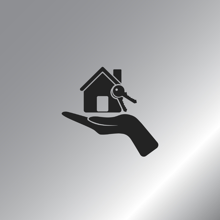 Flat paper cut style icon of home and keys. Vector illustration