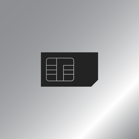 prepaid card: Flat paper cut style icon of a sim card. Vector illustration