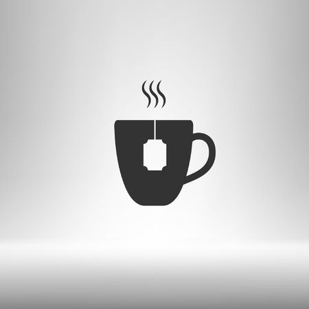 long bean: Flat paper cut style icon of hot tea cup. Vector illustration