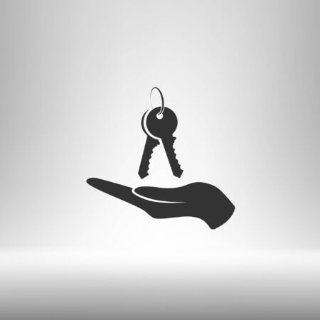 hand with keys icon, flat design best vector icon Illustration