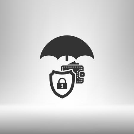 borrowing money: Wallet Protection Icon. Flat design style stock vector illustration