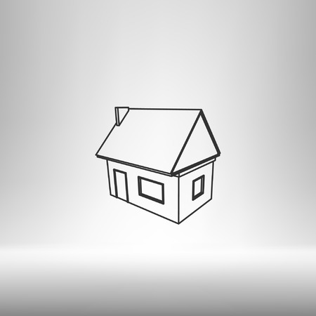 addition: Flat paper cut style icon of house model vector illustration Illustration