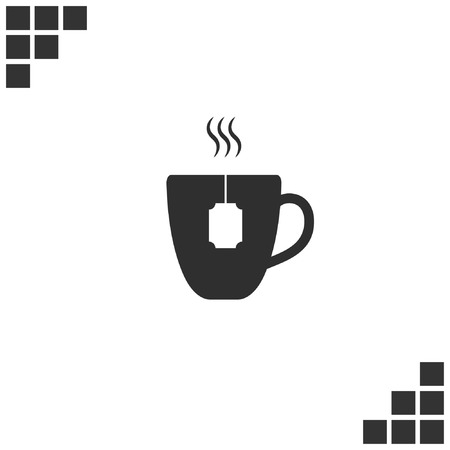Flat paper cut style icon of hot tea cup. Vector illustration Фото со стока - 77817657