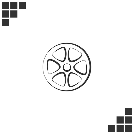 remix: Flat paper cut style icon of old tape spool. Vector illustration