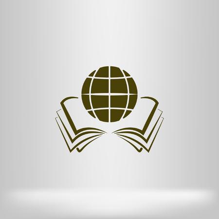 Open boek en globe icon stock vector illustratie plat ontwerp