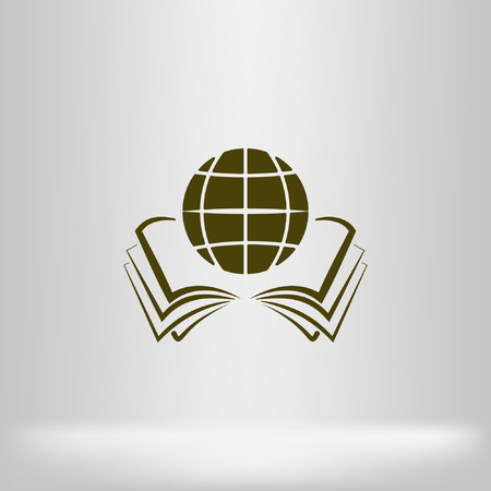literacy: open book and globe icon stock vector illustration flat design