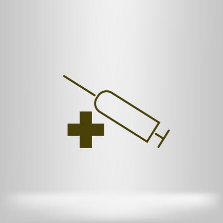 Syringe icon. Vaccine, vaccination, injection, shot, flu. Disposable syringe isolated on white background. Medical equipment. Vector Illustration