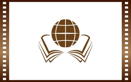 Open book and globe icon.