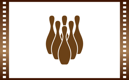 Simple style bowling icon. Illustration