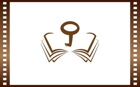 Boek pictogram computer sleutel. Stock Illustratie