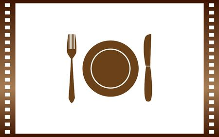 Fork knife dish vector icon