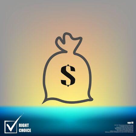 Dollar money bag icon vector illustration.
