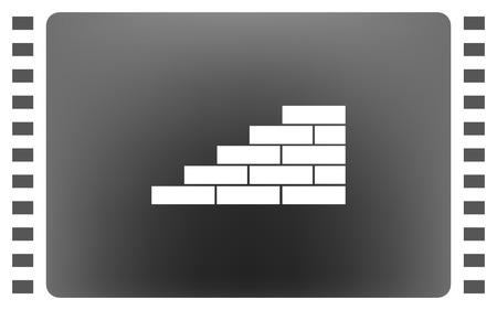 Flat papier gesneden stijl icoon van metselwerk fragment. vector illustratie