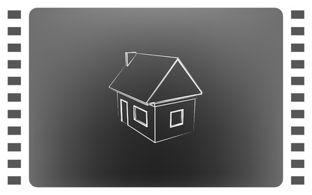 home addition: Flat paper cut style icon of house model vector illustration Illustration