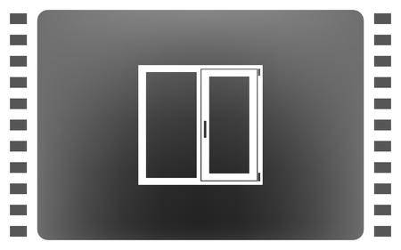 install: Flat paper cut style icon of modern window. Vector illustration Illustration