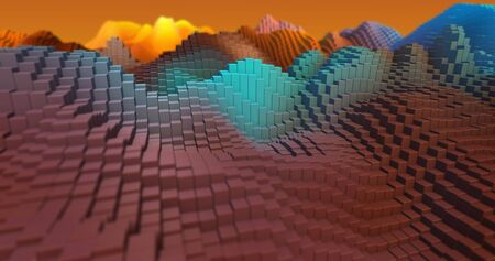 Colorful 3D rendering. Blocks, geometric structure, shape composition. For web page, wallpaper, graphic design, catalog, texture or background