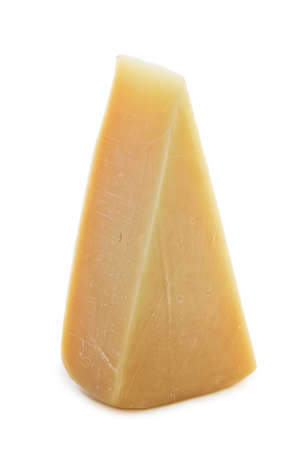 Triangle piece of parmesan cheese isolated on white Archivio Fotografico