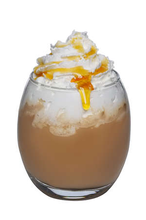 Transparent glass of coffee cocktail with whipped cream and cyrup
