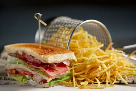 Sandwich on the table with cheese, bacon, tomatos, green salad and french fries