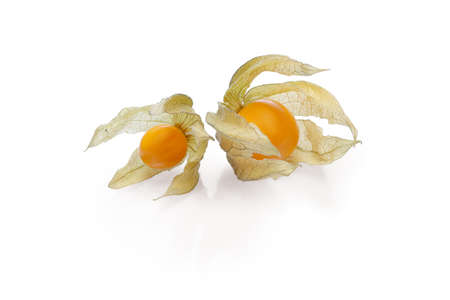 Two physalis with shadow on white background Stock Photo