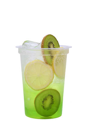 Kiwi and lemon lemonade in plastic take away glass