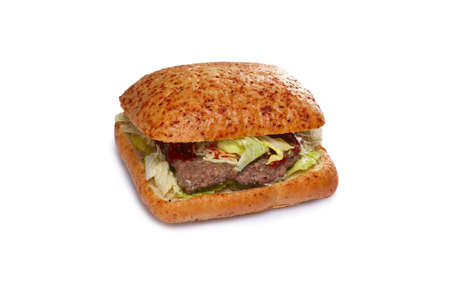 Layout for menu. Burger with beef, bell pepper, cabbage, cucumber and cheese