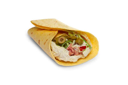 Layout for menu. Pita bread stuffed with beef, cabbage, shallot, tomato, bell pepper, olives with sauce Banco de Imagens