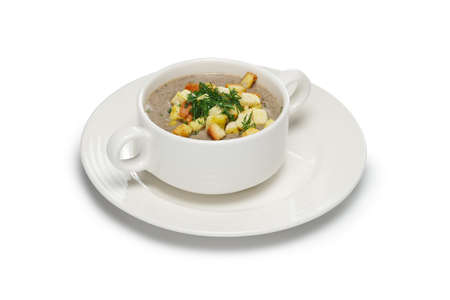 Layout for menu. Mushroom soup puree 스톡 콘텐츠