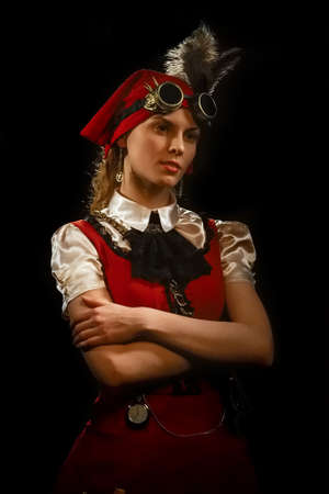 Portrait of steampunk girl in glasses. Photo contains strong noise due to low light and high ISO.