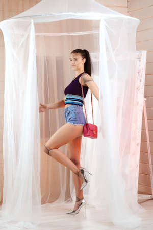 Attractive girl in jeans shorts with pink bag. Young lady acts and posing as a doll. Imagens