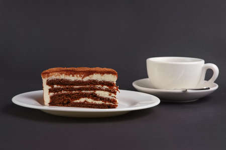 Chocolate biscuit cake and cup of coffee on gray background