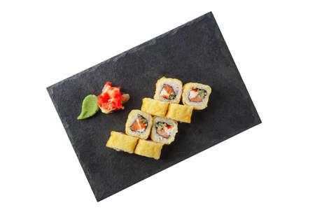 Portion of tempura maki isolated on white background