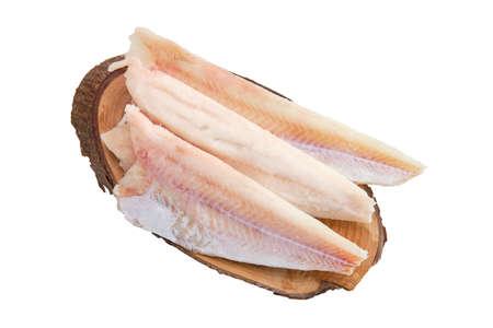 Filet de pangasius congelé isolé sur blanc
