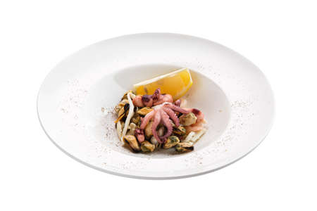 Salad with octopus, shrimps and mussels