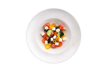 Salad with pepper, tomato, cucumber, olives and feta