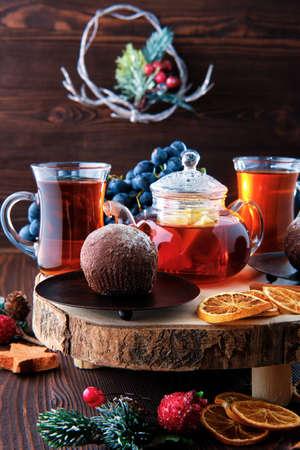 Christmas tea - grape and lemon tea with chocolate cake