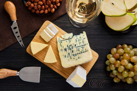 Top view of assortment of cheese and snack for wine Stock fotó