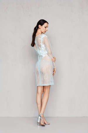 Pretty young woman in transparent tulle dress with lace posing near the wall