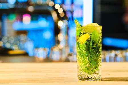 Classic cold cocktail mojito (soft focus photo with shallow depth of field)