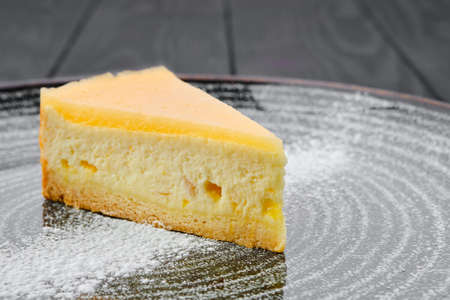 Close up view portion of pumpkin cheese cake