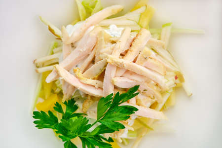 Macro photo of salad with ham, apple, pineapple and mayonnaise