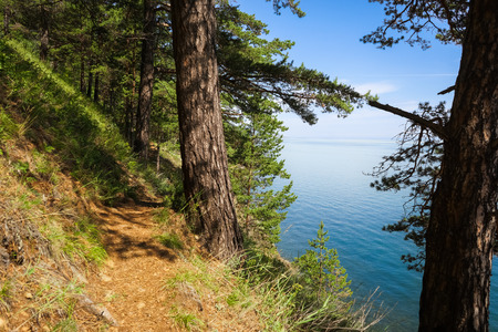 listvyanka: Small trail on the Baikal lake coast; between Listvyanka and Big Koty Bolshie Koty.