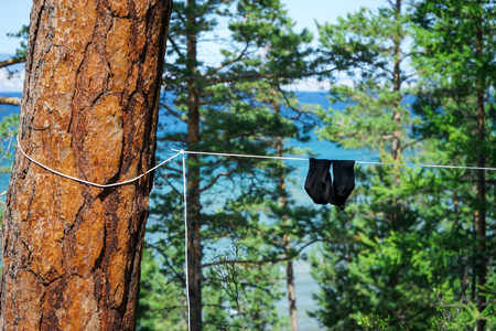 drying: Socks are drying on rope, Russia, Siberia