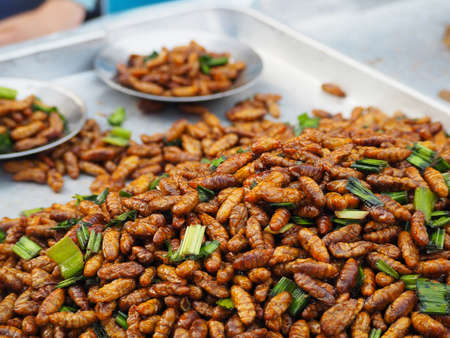 Fried bamboo worms in thai local market