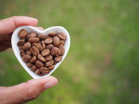 Female hand holding heart shaped cup filled with coffee beans on garden background