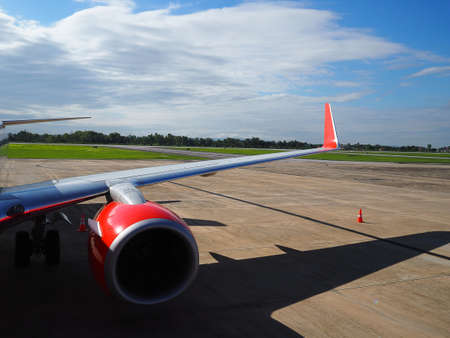 Airplane being preparing ready for takeoff in Mae Fah Luang–Chiang Rai international airport