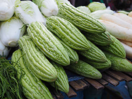 Fresh bitter melon for sale in the local market of Thailand 免版税图像 - 105749295