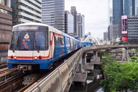 BANGKOK, THAILAND - July 7, 2019 :BTS skytrain is running to the Chong nonsi BTS station, Bangkok, Thailand Redakční
